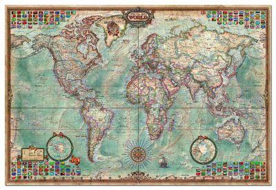 """Картонен пъзел """"Политическа карта на света"""" - 4000 части"""