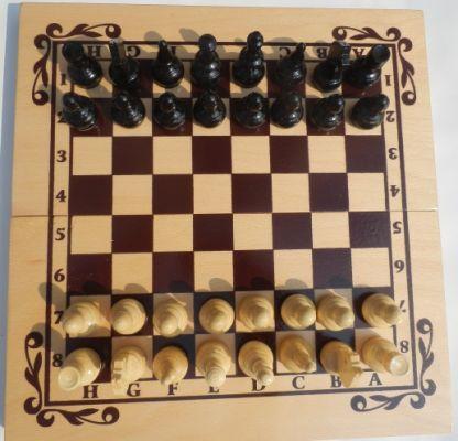 Комплект шах и табла - средна. Ситопечат. С фигури и пулове