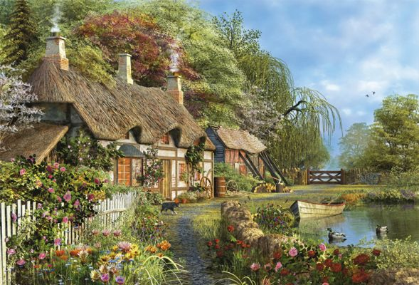"""Картонен пъзел """"Къщичка с цветя на брега"""" - 4000 части"""