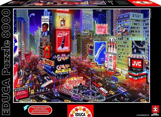 """Картонен пъзел """"Вечер на Таймс Скуеър, Ню Йорк"""" - 8000 части"""