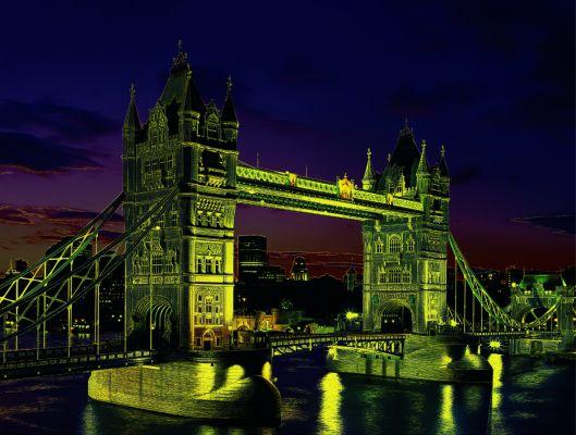 """Светещ картонен пъзел """"Тауър бридж, Лондон """" - 1000 части"""