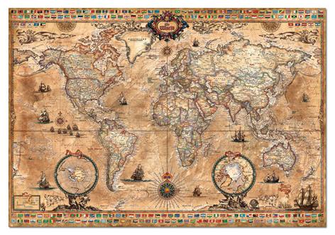 """Картонен пъзел """"Антична карта на света"""" - 1000 части"""