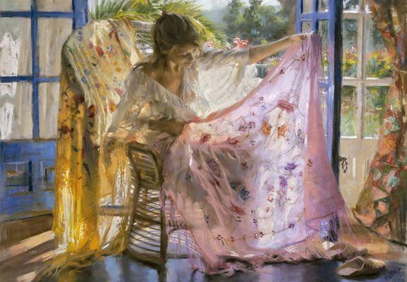 "Картонен пъзел ""Розовият шал"" - 2000 части, художник Висенте Ромеро"